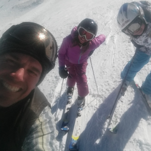 Mike skiing with the girls